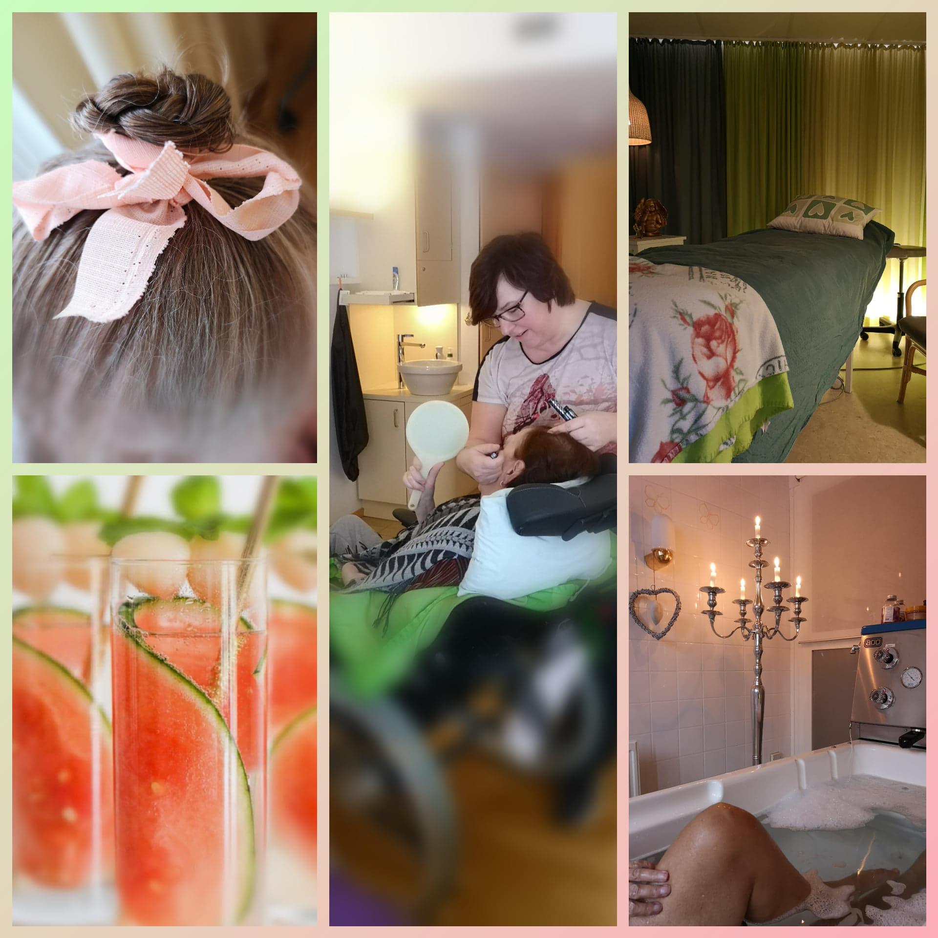 En dag på Hospice. När en gäst inte orkar att duscha tvättar personalen håret i sängen, kammar, flätar och dekorerar med matchande hårband till klädsel. I ett rum bredvid görs en make up inför ett födelsedagskalas senare på eftermiddagen.  Anhöriga och gäster erbjuds mjuk beröring. På eftermiddagen sänks  en gäst ned i ett njutbart bad med en lyft.  Till kvällen serveras det en läskande drink för de som önskar.